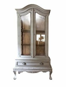 French louis XV Style Reproduction Solid Wood Glazed Armoire Display Cabinet